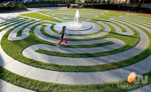 Get lost and found again on the Greenway in the labyrinth of the Armenian Heritage Park. The prize for making it to the middle unscathed is a singular bubbling fountain.