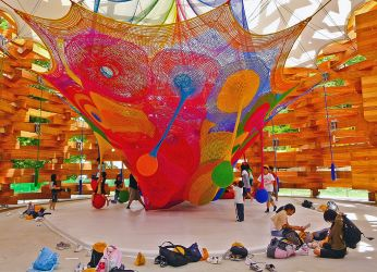 Toshiko Horiuchi's yarn art playground for the Takino Suzuran Hillside National Park in Sapporo, Japan.