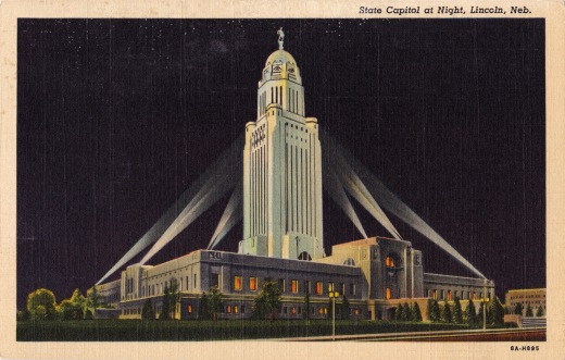 nebraska-capitol post card with lights